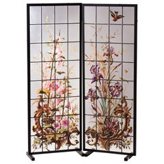 Pair of Enameled Stained Glass Panels, France, circa 1880