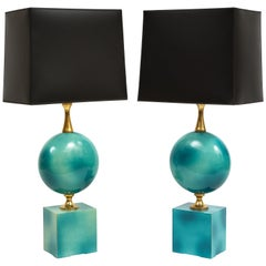 Pair of Enameled Table Lamps by Maison Barbier