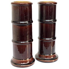 Pair of Enamelled Ceramic Vases, Brown, Candleholder, Signed Italy, 1970s bamboo
