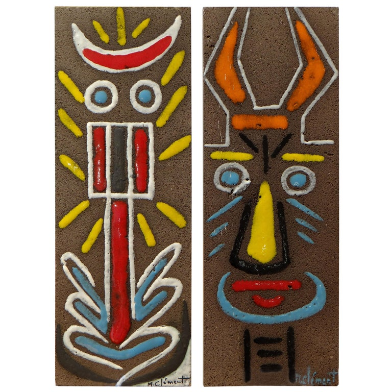 Pair of Enamelled Lava Plates with Faces Decoration by Michel Clément, 1950s For Sale