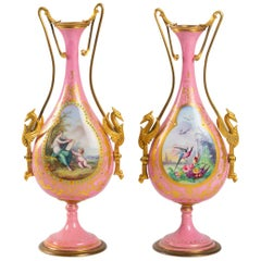 Pair of Enameled Porcelain and Gilded Bronze Vases, Napoleon III Period
