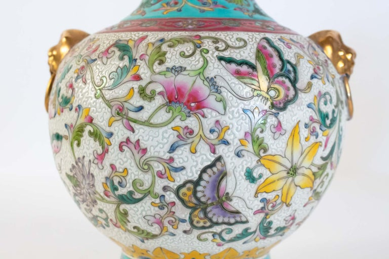 Chinese Export Pair of Enamelled Porcelain Vases, China, Works of Art, Decor Butterflies For Sale