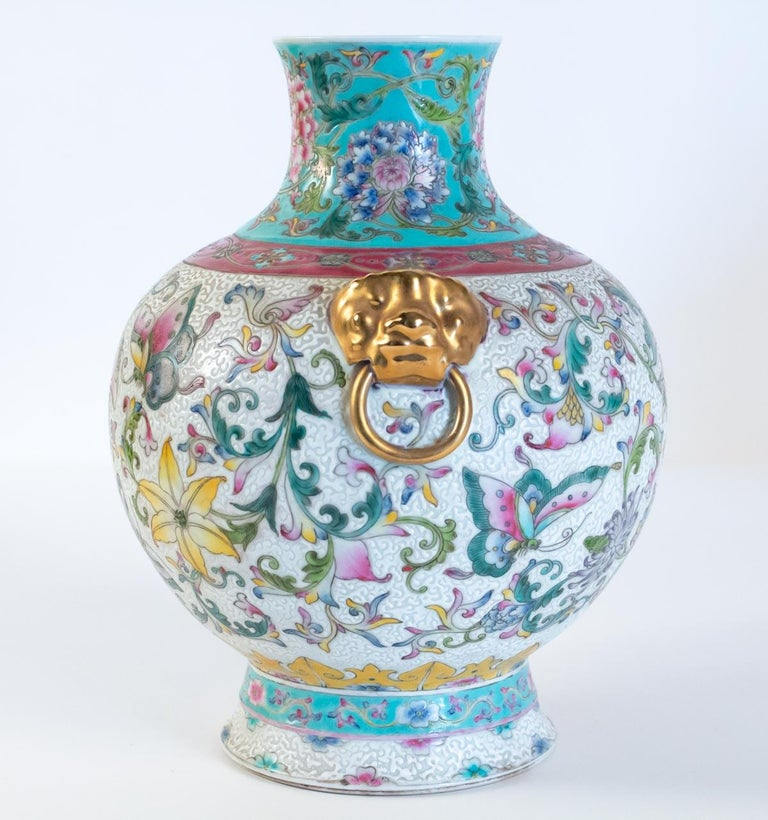 Pair of Enamelled Porcelain Vases, China, Works of Art, Decor Butterflies In Good Condition For Sale In Saint-Ouen, FR