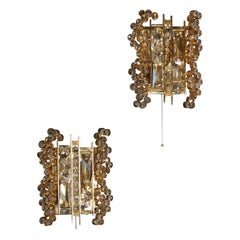 "Pair of ""Enchanting Light"" Wall Sconces by Palwa, Gilt Brass and Glass, 1970s"