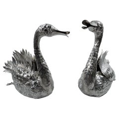 Pair of Enchanting Silver Swan Bird Centerpiece Bowls