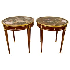 Pair of End, Center or Sofa Tables Bronze Mounted Single Drawer Glass Tops
