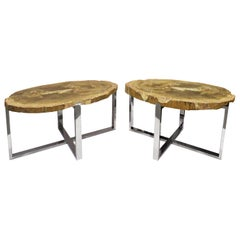 Pair of End/Coffee Tables in Polished Chrome with Petrified Wood Tops, 1990s