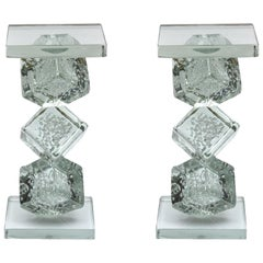 Pair of End Tables All in Murano Glass