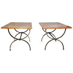 Pair Neoclassical End Tables Billy Haines Style Rojo Alicante Marble Tops, 1960s
