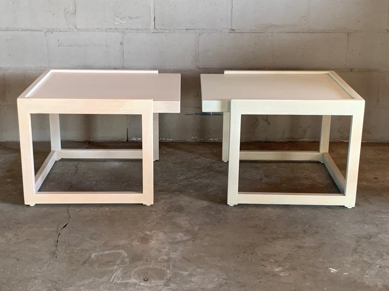 Wood Pair of End Tables by Paul Laszlo for Brown Saltman For Sale