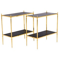 Pair of End Tables in Gilt Brass and Leather, 1970s