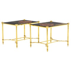 Pair of End Tables in Lacquer and Gilt Brass, 1970s