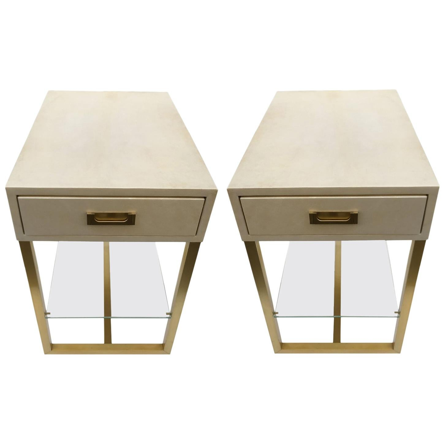 Pair of End Tables in Parchment and Patinated Brass, Maison Jansen, 1970