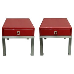 Pair of End Tables in Red Lacquer by Guy Lefevre for Maison Jansen, France 1970s