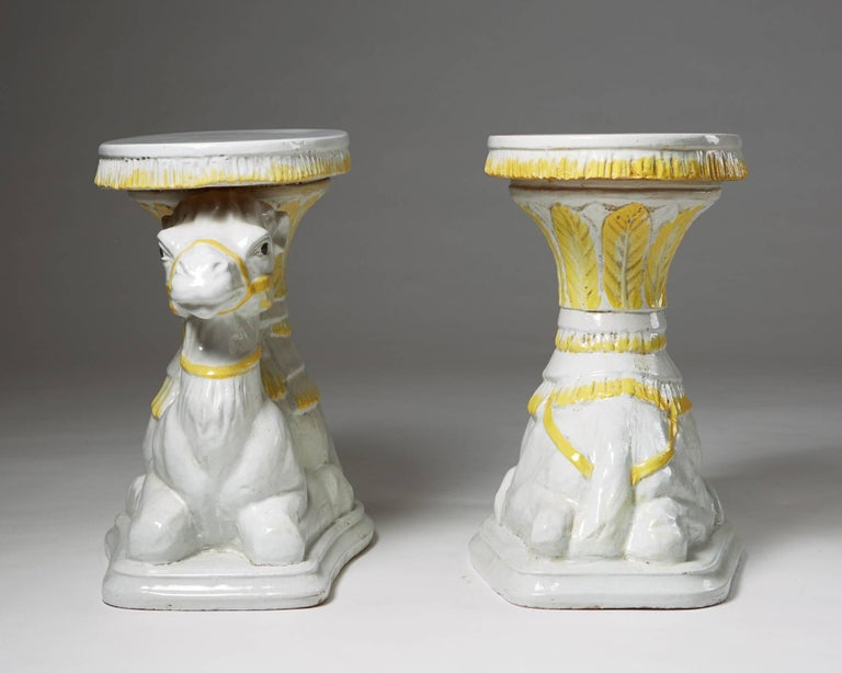 Glazed Pair of Endtables Anonymous Italy, Retailed by Svenskt Tenn, Sweden, 1950s For Sale