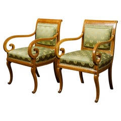 Pair of English 1830s Regency Walnut Upholstered Armchairs with Scrolling Arms