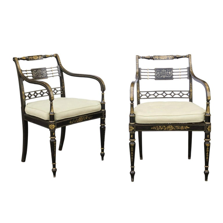 Pair Of English 1850s Regency Style Ebonized Wood Armchairs With Gilded Accents For