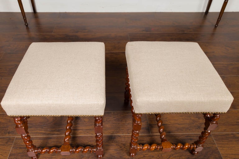 Pair of English 1860s Walnut Stools with Barley Twist Base and New Upholstery For Sale 4