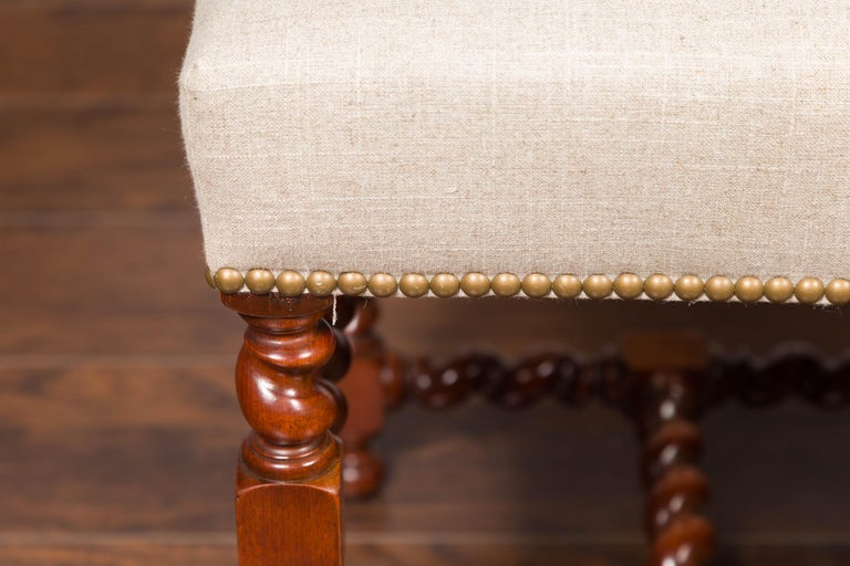 Pair of English 1860s Walnut Stools with Barley Twist Base and New Upholstery For Sale 6