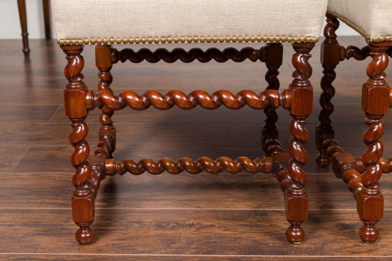 Pair of English 1860s Walnut Stools with Barley Twist Base and New Upholstery For Sale 7