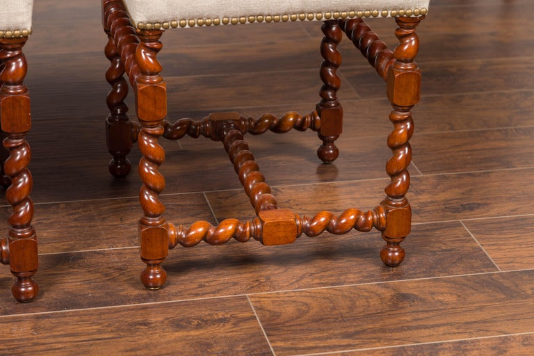 Pair of English 1860s Walnut Stools with Barley Twist Base and New Upholstery For Sale 8