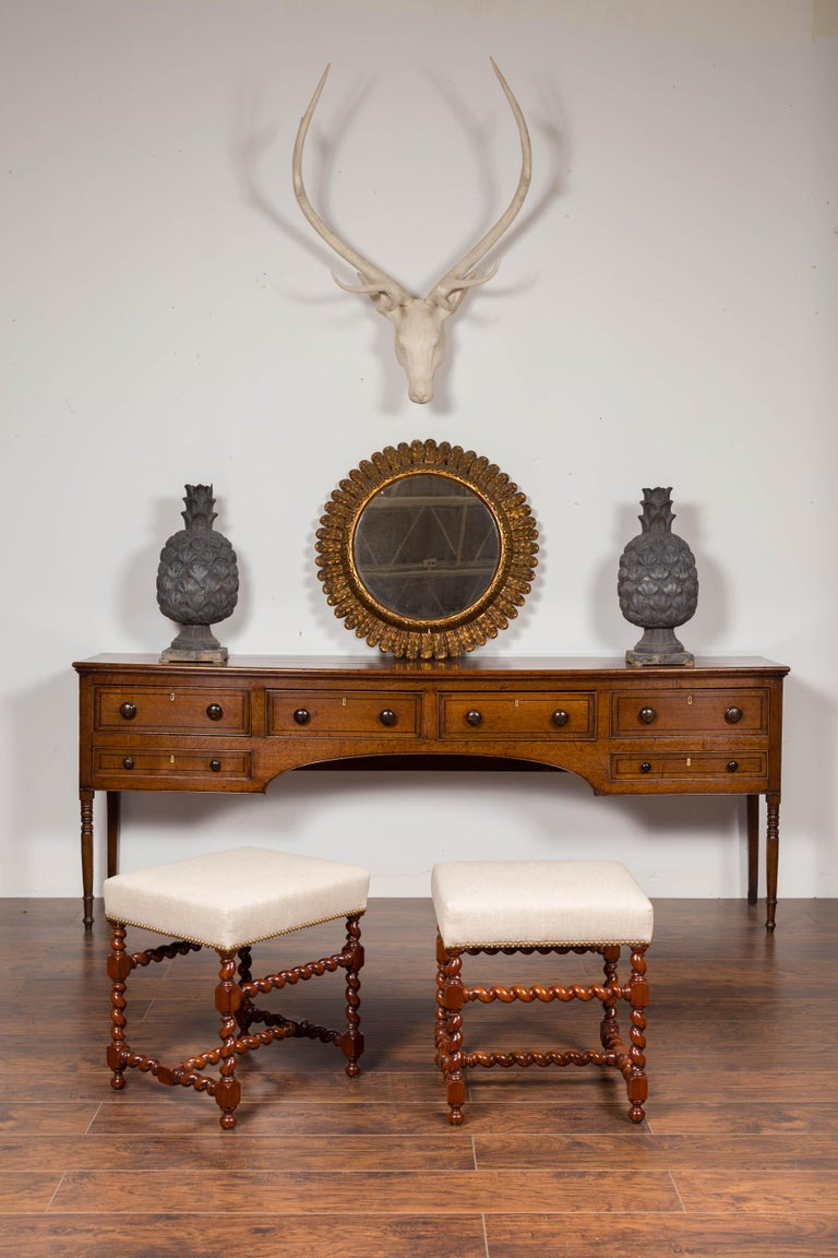 Turned Pair of English 1860s Walnut Stools with Barley Twist Base and New Upholstery For Sale