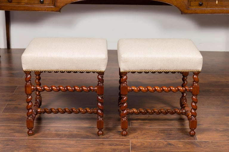 Pair of English 1860s Walnut Stools with Barley Twist Base and New Upholstery In Good Condition For Sale In Atlanta, GA