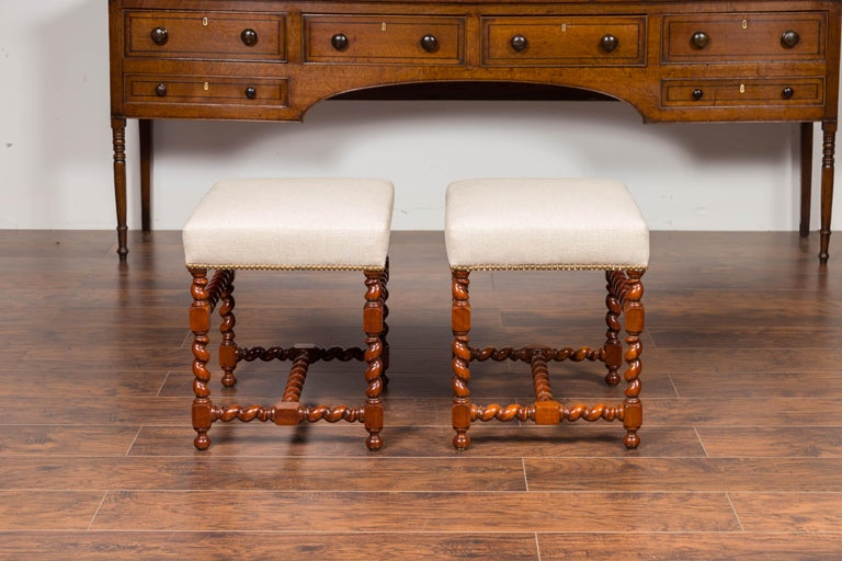 19th Century Pair of English 1860s Walnut Stools with Barley Twist Base and New Upholstery For Sale