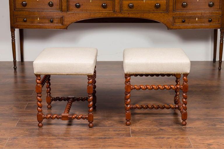 Pair of English 1860s Walnut Stools with Barley Twist Base and New Upholstery For Sale 1