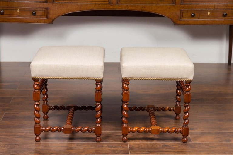Pair of English 1860s Walnut Stools with Barley Twist Base and New Upholstery For Sale 2