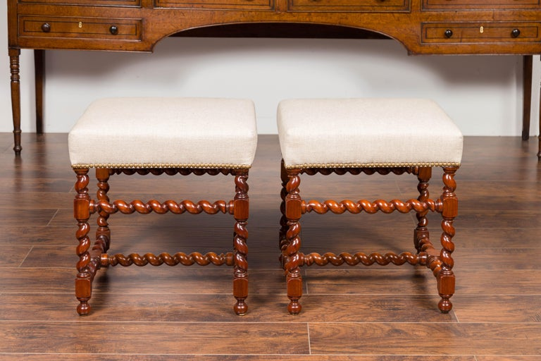 Pair of English 1860s Walnut Stools with Barley Twist Base and New Upholstery For Sale 3