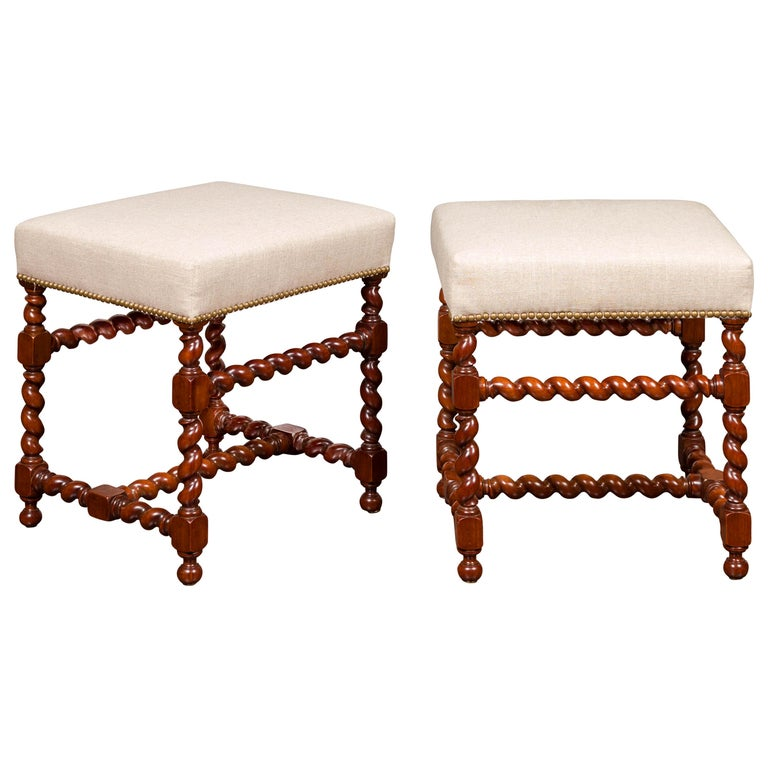 Pair of English 1860s Walnut Stools with Barley Twist Base and New Upholstery For Sale