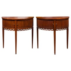 Pair of English 1870s Mahogany Demilune Tables with Reeded Sliding Doors