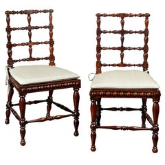 Pair of English 1870s Rosewood Side Chairs with Cane Seats and Turned Spindles
