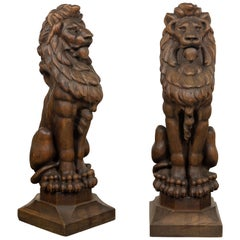 Pair of English 1880s Large Carved Oak Lions on Square Bases