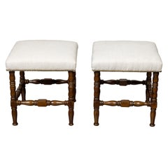 Pair of English 1880s Walnut Stools with Turned Legs and New Upholstery
