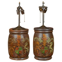 Pair of English 1880s Wooden Barrels with Coat of Arms Made into Table Lamps