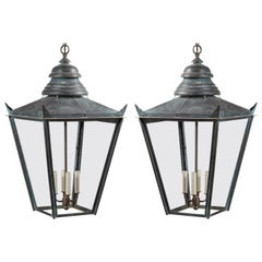 Pair of English 1890s Four-Light Copper Lanterns with Glass Panels, Wired