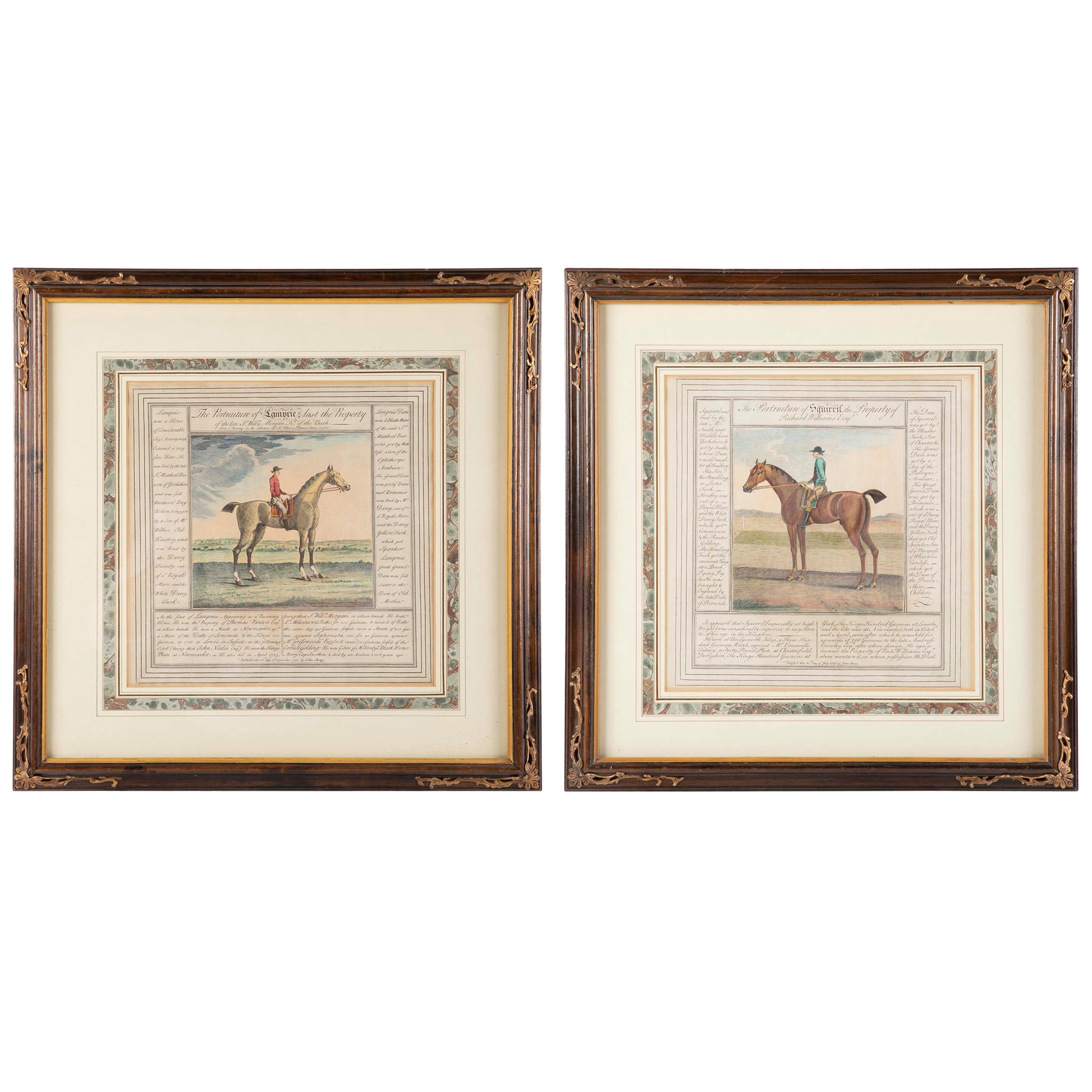 Pair of English 18th Century Hand Colored Equestrian Prints