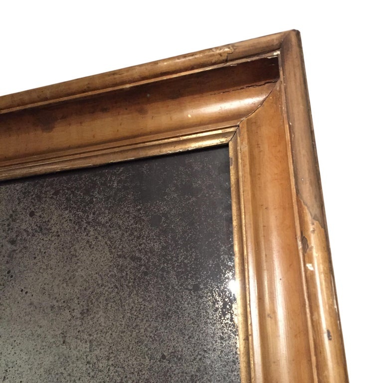 Mirror Pair of English 18th Century Time Worn Frames with Later Distressed Glass For Sale