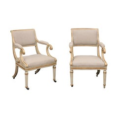 Pair of English 1900s Regency Style Painted and Parcel-Gilt Armchairs on Casters