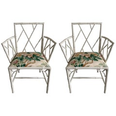 Pair of English 1940s Faux Bamboo White Armchairs