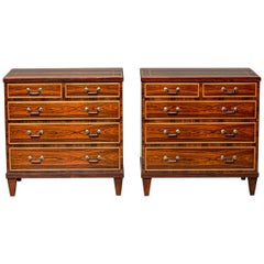 Pair of English 19th Century English Rosewood Chests with Box Stringing Inlay