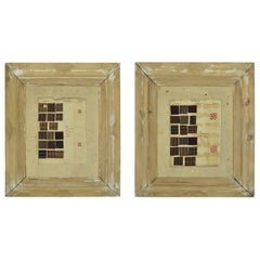 Pair of English 19th Century Collages In Distressed Pine Frames