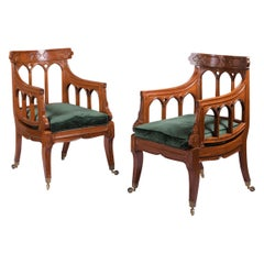 Pair of English 19th Century Gothic Revival Library Armchairs