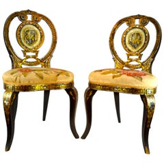 Pair of English 19th Century High Victorian Papier Mache Chairs
