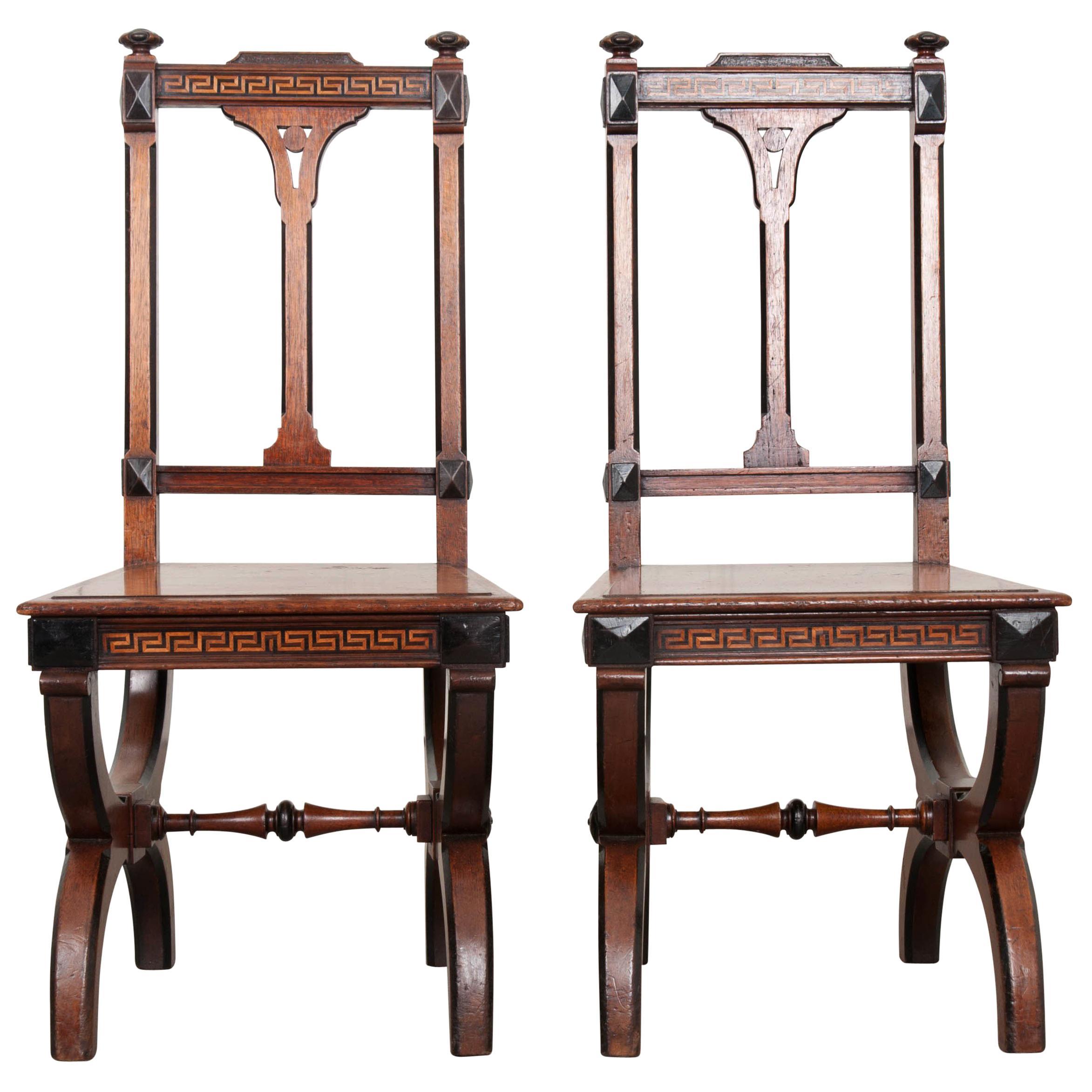 Pair of English 19th Century Inlay Mahogany Hall Chairs