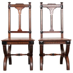 Pair of English 19th Century Inlay Mahogany Hall Chairs