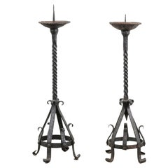 Pair of English 19th Century Iron Candlesticks with Twisted and Scrolled Motifs
