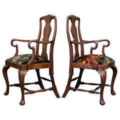 Pair of English 19th Century Large Mahogany Carver Elbow Chairs Reupholstered